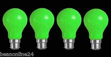 4 x GREEN Coloured Bayonet Party / Festoon Light Globes 25W B22 Bulbs Lamps A60