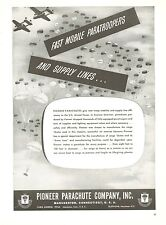 1950 Pioneer Parachute Ad Plane Dropping Paratroopers Air Drop Military Supplies