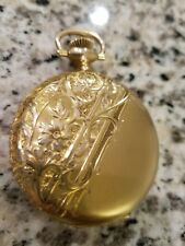 Working!Heavy 14k Gold Ladies Hunter Floral Antique Waltham Pocket Watch 5112493