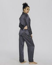 Olivia von Halle Lila Amity silk pajama pyjama long sleeve shirt pant set size 3