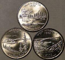 BU United States 2005 Minnesota Oregon West Virginia 3x quarter 25 cent coins P