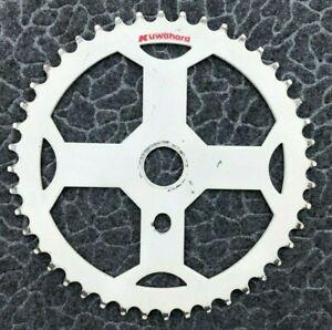 """Used 1985 Kuwahara 44T 1/8"""" One Piece Sprocket White Steel Old School BMX"""