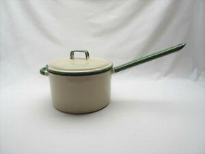 Vintage cream & green enamel Judges saucepan pan 20cm