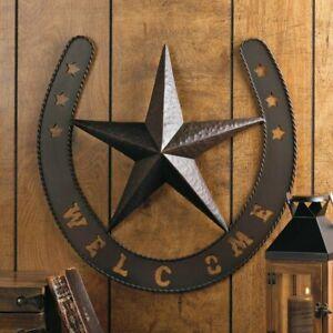 Rustic Star Horseshoe Welcome Country Cowboy Metal Horseshoe Wall Art Plaque
