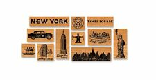 Cavallini VINTAGE NYC NEW YORK CITY 11 STAMPS Assorted Wooden Rubber Stamp + Tin