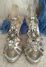Fabulous Rhinestone🌸 8M Silver Leather Shoe Heel Platform Unworn Fancy Sparkle