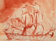 Vintage fauvist watercolor painting seascape ship