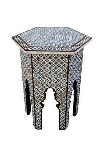 Mother Of Pearl Moroccan Flower Design Side Stool Table Antque Side Table