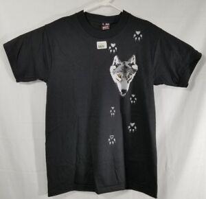 VTG 90s Best Fruit Of The Loom Wolf Tracks Shirt Adult Medium Single Stitch NWT