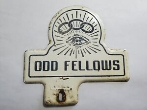 Vintage Odd Fellows License Plate Topper NO Reserve
