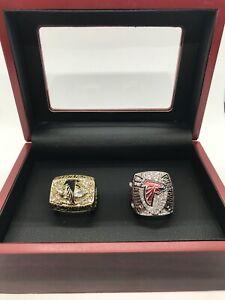 2 Set Atlanta Falcons NFC Championship Rings With Wooden Display Box 1998 2006
