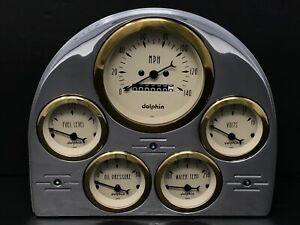 1952 1953 FORD CAR 5 GAUGE DASH PANEL INSERT SET GOLD