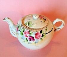 Takito Small Teapot - Hand Painted Roses With Moriage Beading - Japan