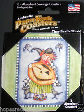 Authenic PaperKraft Drink Coasters Halloween JACK O' LANTERN / WITCH MADE IN USA