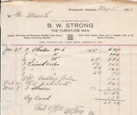 U.S. B. W. Strong Oregon 1913 The Furniture Man Cash Paid Invoice Ref 41795