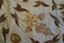 2.5 YARDS Embroidered Silk Fabric Floral Brown Tan Stunning Fabric