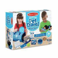 Childrens Melissa and Doug Pet Travel Play Set + Plush Dog + Cat Kids Toy Age 3+