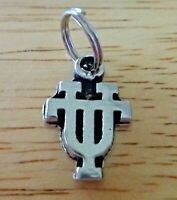 16mm Silver Pewter round Rosary Center w// Saint San Benito Benedict Cross Charm