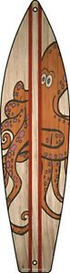 """Octopus Red Striped Metal Surfboard Sign 17"""" x 4.5"""" Wall Decor - DS"""