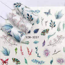 Nail Art Water Decals Transfers Stickers Summer Flowers Fern Leaf Butterfly 3237