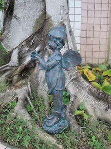 Garden ornament - PETAL FAIRY VERDIGRIS - garden decoration