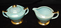 Gorgeous Vintage Warranted 22K Gold & Turquoise Sugar w/ Lid & Creamer [S6676]