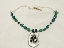 "AZURITE and LAPIS LAZULI GEMSTONE necklace, GEMINI PENDANT ""NEW ""AUZ MADE"
