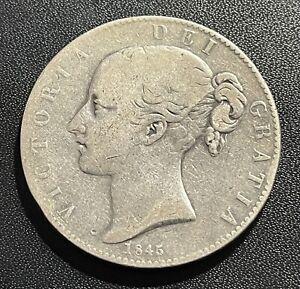 Great Britain 1845 Crown Silver Coin: Victoria