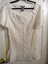 Laura Scott Women's 20W/22W Ivory Cap Sleeve Round Neck Button Front  Top  NWOT