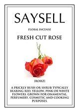 Fresh Cut Rose Floral 20 Incense Joss Sticks Agarbatti - TOP QUALITY FRAGRANCE