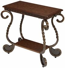 Antique Rafferty Chairside Rectangular End Table with Metal Base