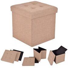 Folding Storage Cube Ottoman Seat Stool Box Footrest Furniture Decor Beige New