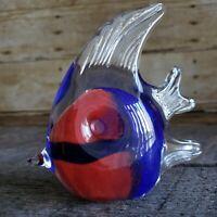 Angel Fish Hand Blown Art Glass Red Blue Figure Paperweight Nautical Figurine