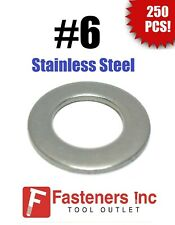 (Qty 250) #6 Stainless Steel Flat Washers (.375 OD) (18-8 Stainless)