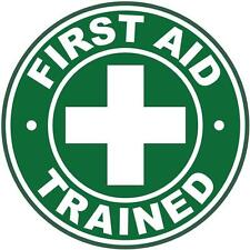 Hard Hat First Aid Trained Sticker Sign Decal 50mm Public Safety WHS OHS