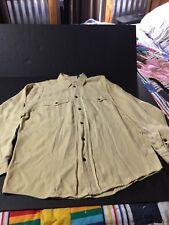 LIZ WEAR ~ IVORY Silk Button Down Long Sleeve Men's Shirt Sz Med