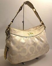 Coach 13252 Madison Ops Ivory Cream Leather Trim Hobo Satchel Shoulder Bag Purse