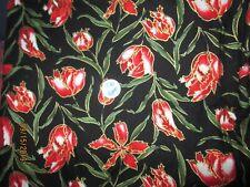 "2-1/4 yd. x 42"" Weavetex Design Studio Black with Red Floral/gold Trim 1991"