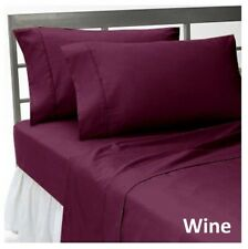 1 PC Fitted Sheet 1000 Thread Count Egyptian Cotton Wine Solid Queen Size
