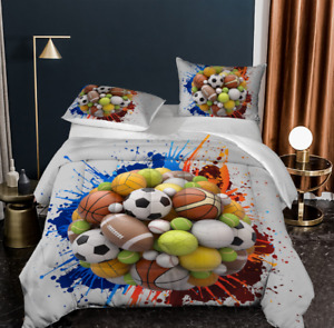 Football Feast Duvet Quilt Cover Bedding Set Comforter Cover Pillowcase Double