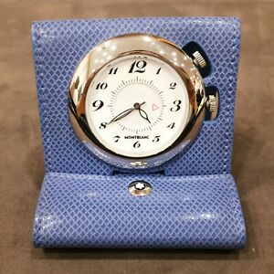 Montblanc Travel Timepiece Leather White Pial Blue Color 36989 with Box