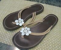 Blue Ginger Hawaii Flip Flop Sandals with Shell & Beaded Flower Accents size 10
