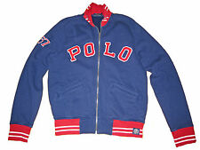Polo Ralph Lauren Navy Blue Red Varsity Patch Football Jacket Coat Medium