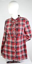 Esprit Women Plaid Long Sleeve Shirt Sz Large Button Up Ruffled 100% Cotton Red