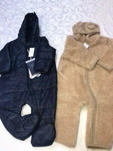 New Gap 2 pcs puffer blue+ brown fleece baby boy snowsuits one-piece 6M-12M $156