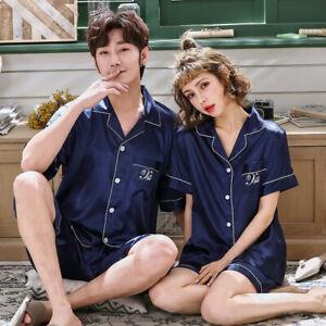 Women Men Silk Satin Pajamas Set Sleepwear Comfort Pyjamas Short Sleeve Nightwea