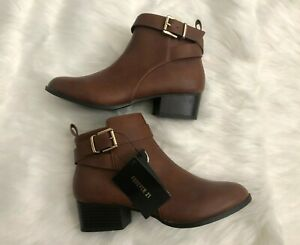 Forever 21 Womens Brown Leather Ankle Boots Booties Size 7