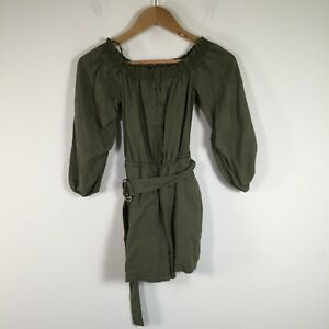 Zara womens playsuit romper size XS khaki green 3/4 sleeve round neck lyocell