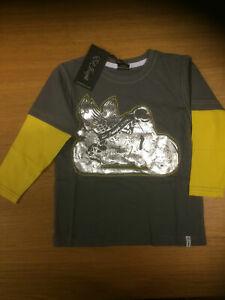 ED JOSEPH BOYS L/S MOCK LAYER MOTORBIKE PRINT T-SHIRT Grey  VARIOUS SIZES CHILD