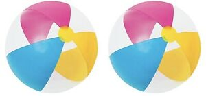 Intex Glossy Panel 24in Multi Color Beach Ball (Pack of 2 Balls), Free Shipping